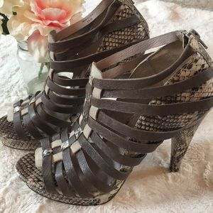 7 For All Mankind NWOB snakeskin Strappy heels